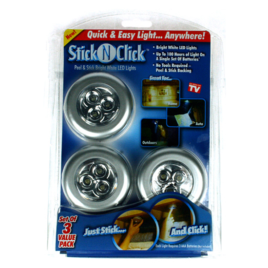 Stick'n Click LED lys, 3 stk